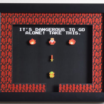 "The Legend of Zelda (NES) - ""Take This!"" 3D Video Game Shadow Box with Glass Frame"