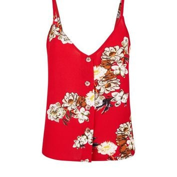 Cameo Rose Red Floral Button Front Cami | New Look