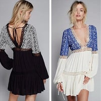 Ethnic Fashion Hollow Deep V Embroidery Lace Stitching Long Sleeve Mini Dress