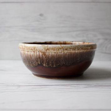 Vintage Kathy Kale Ceramic Pottery Bowl | Brown Drip Glaze | USA