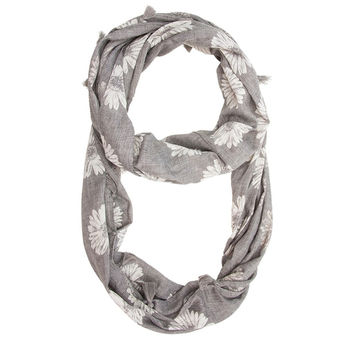 Grey Sunflower Infinity Scarf With Tassel