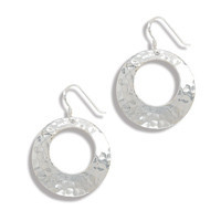 Cut Out Hammered Earrings on French Wire