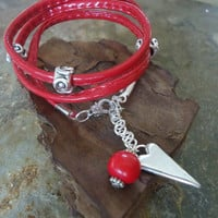 BRIGHT RED  sewn wrap bracelet with heart & Seeds by AsaiBolivien $8,90