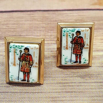 Vintage Beefeater Cufflinks - Yeomen Warders - London England - Cuff Links - Suit Accessories - Painted Tile - Groomsmen Gift - Wedding