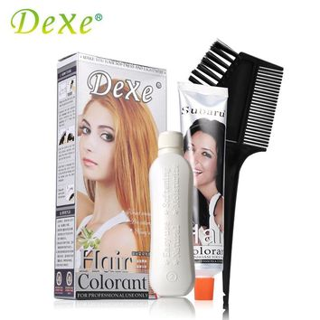 Light Blonde 60mlX2 Dexe Professional Hair Care Colorant Hair Dye Hair Coloring Cream + Creme Developer with Comb