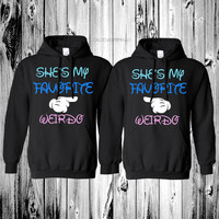 "2 matching ""she's my favorite weirdo"" black hoodies"