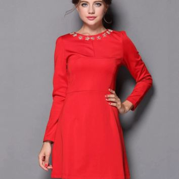 Fall/Winter Fashion Round Neck Cotton Long Sleeve Princess Dress