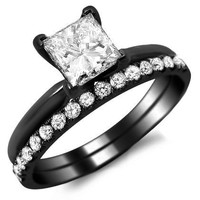 1.10ct Princess Cut Diamond Engagement Ring Bridal Set 18k Black Gold Rhodium Plating Over White Gold With a 0.70ct Center White Diamond and 0.40ct of Surrounding Diamonds