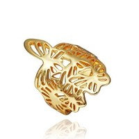 DUMAN 18K Yellow Gold Plated Hollow Butterfly Ring Swarovski Elements Crystal, Size 8