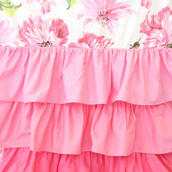 Pink Petunia Ruffle Curtains | Pink Floral Curtains
