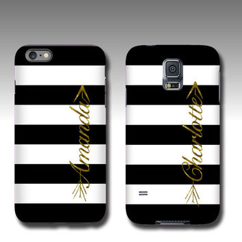 White black stripes with golden glitter name arrow iPhone 6s case personalized Samsung Galaxy Note 5 case iPhone 6 plus iPhone 5 Galaxy S5