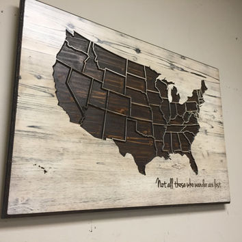 US Map Wall Art, Not all Who Wander Are Lost, Wood Carved State Outlines, Wood Wall Art, Personalized, Wooden, Modern, Rustic, Birthday gift