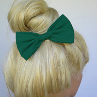 Hunter Green Hair Bow Clip Big Green bow Hunter Green Bow Clip Dark Green Bow Medium Green Bow Women Bow Women hair clip adult bow girls bow