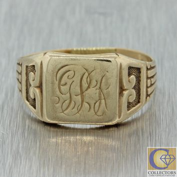 1880s Antique Victorian 14k Solid Yellow Gold Monogrammed Signet Ring