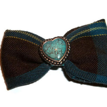 Teal and Brown Heart Bow, Plaid Hair bow, Turquoise hair bow, Vintage button cover, Upcycled Fabric