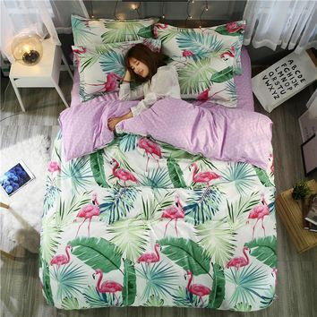 Flamingo Bedding Set Tropical Plant Quilt Cover Queen Full King Size Home Bed Set Flower Print Pink And Green Bedclothes 3/4pcs
