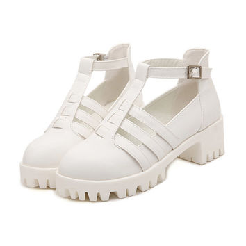 White Chunky Sole Cut-Out Shoes - White / UK