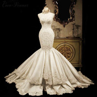 C.V Lace mermaid Wedding dress 2017 fashion luxury fish tail slim waist real photo big long trailing princess wedding dress gown