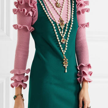 Gucci - Embellished wool-blend mini dress