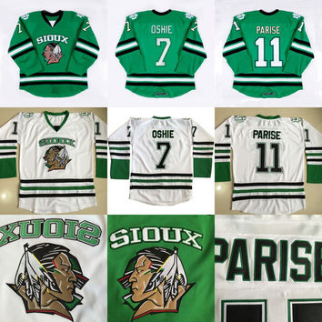 North Dakota Fighting Sioux Hockey Jersey #7 TJ Oshie 11 Zach Parise blank Green University Throwback Stitched Jerseys