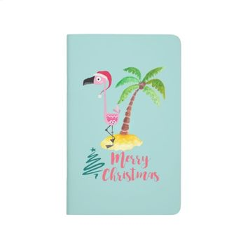 Pink Flamingo In A Santa Hat By A Palm Tree Xmas Journal