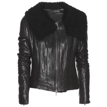 haider ackermann - kills shearling-trimmed leather jacket