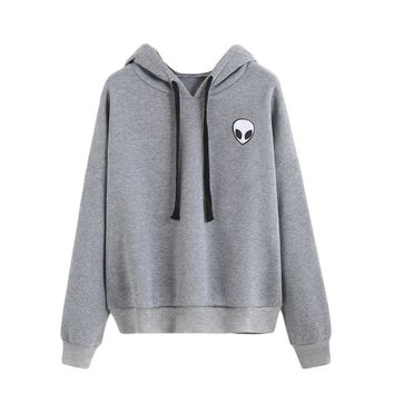 Women Alien Print Sweatshirt Long Sleeve Hooded Hoodie Sweater