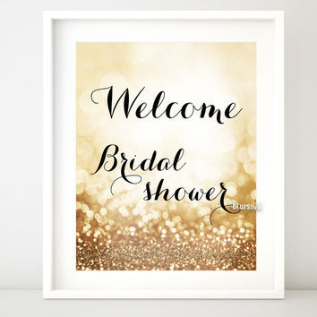 Welcome, gold glitter printable sign for bridal showers
