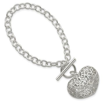 925 Sterling Silver Puffed Heart Toggle Bracelet