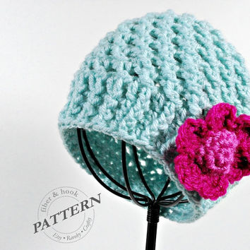 CROCHET PATTERN - The CB Beanie with Flower (Newborn-Adult Sizes) pdf #019H, Flower Hat, Button Hat