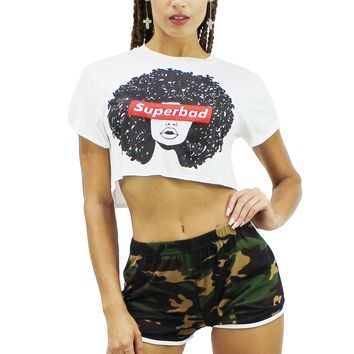Super Bad Girl Printed Round Neck Short Sleeve Loose Fit Crop Top