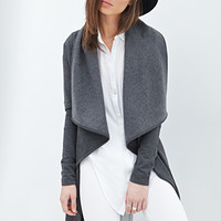 FOREVER 21 Knit Trench Coat Charcoal Heather