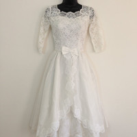 Rocking Down the Aisle // 1950s White Tea Length Wedding Dress