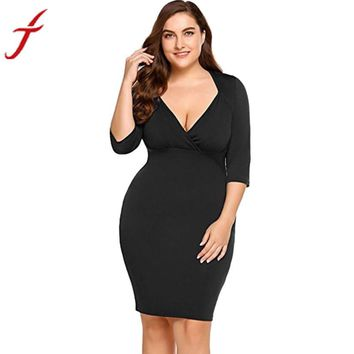 FEITONG Plus Size Sheath Dress Women Three Quarter Sexy V-Neck Plus Evening Party Midi Casual Short Mini Dress Female vestidos#3