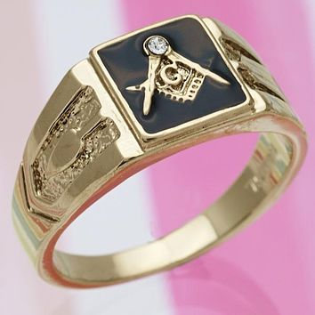 Gold Layered Men Mens Ring, with White Crystal, by Folks Jewelry