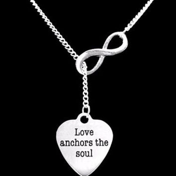 Love Anchors The Soul Infinity Lariat Gift Wife Mom Daughter Charm Necklace