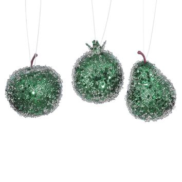 3ct Emerald Green Beaded  Sequin and Glitter Pear  Apple and Pomegranate Fruit Christmas Ornaments