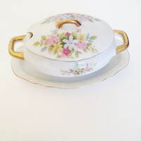 Lefton China Hand Painted, Ceramic Sugar Bowl with Lid, Lefton Hand Painted China, Japanese China, Cream & Sugar Set, Floral China Pattern