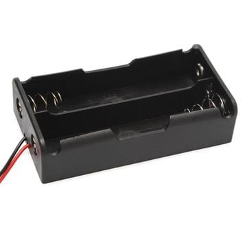 "1PCS 2Slot 18650 Battery Storage Case Plastic For 2 x 18650 Box Holder 76.13*40.63*19.77MM Black With 6"" Wire Leads 7.4V Clip"