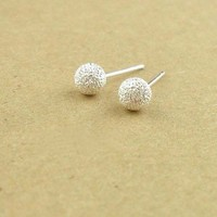 Cute Semi-frosted 925 Sterling Silver Earrings