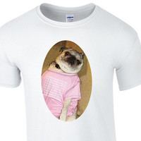 Pug wearing a 1-800-hotlinebling shirt Custom T-Shirt