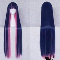 Panty&Stocking Cosplay Long Straight dark blue pink mix 100cm full wig + wig cap
