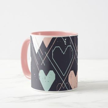 Geometrical hearts background Coffee Mug