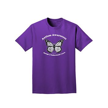 Autism Awareness - Puzzle Piece Butterfly 2 Adult Dark T-Shirt