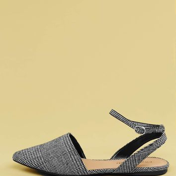 Pointed Toe Houndstooth Ankle Strap Flats