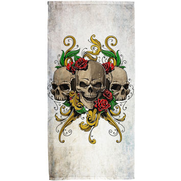 Skulls and Roses Metal Tattoo All Over Bath Towel