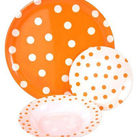 Tango Orange/White Polka Dot 9-Piece Dinnerware Set - modern - dinnerware - by Overstock