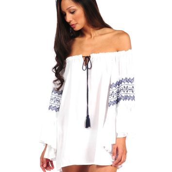 Surf Gypsy by Vintage Havana Embroidered Bell Sleeve Tunic