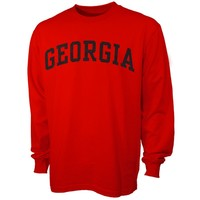 Georgia Bulldogs Red Vertical Arch Long Sleeve T-s