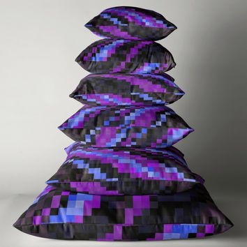 'Purple Blue and Black pixels' Throw Pillow by Christy Leigh
